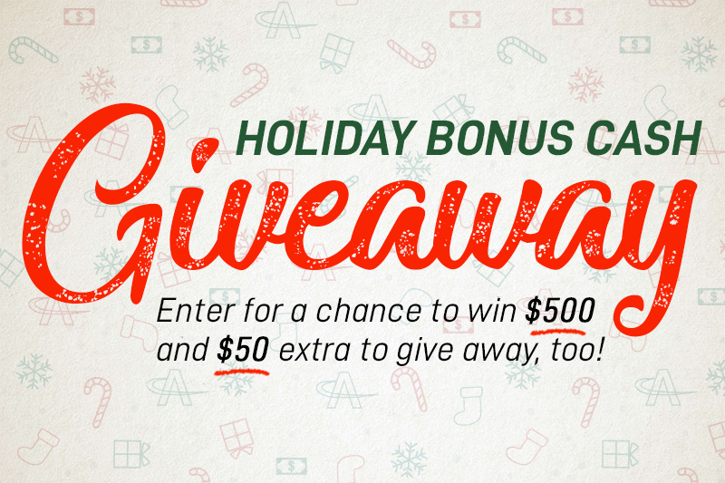 Win $500 plus an Extra $50 with the AmeriCash Loans Holiday Bonus Cash Giveaway